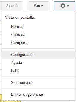 Opciones de configuración Google