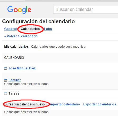 Crear un calendario Google Calendar