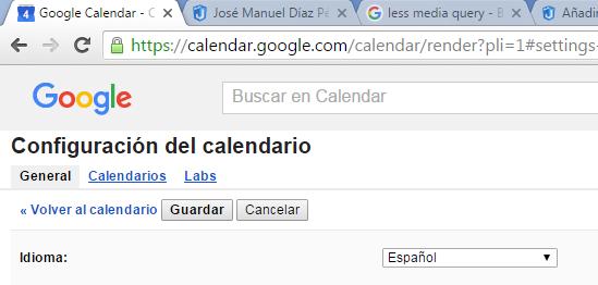 El enlace de calendarios está bajo el título