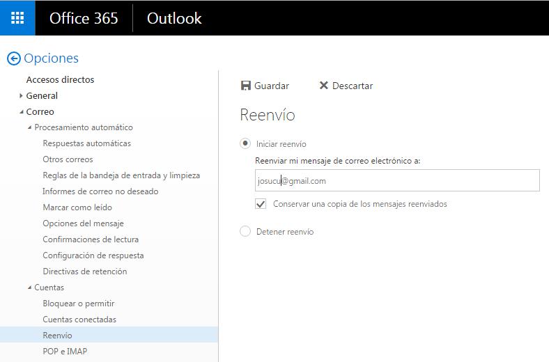 Configuración de correo de Office 365