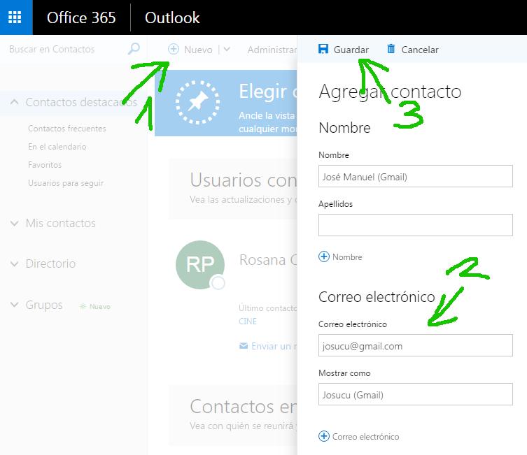 Office 365 Añadir contacto