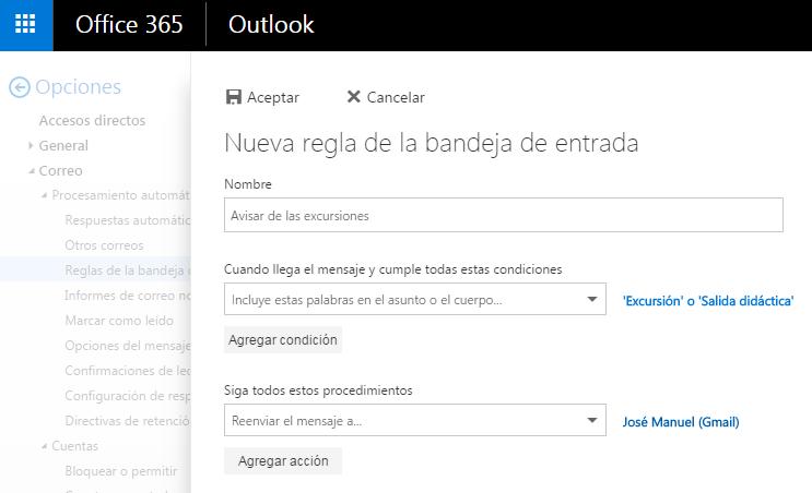 Regla de correo Office 365