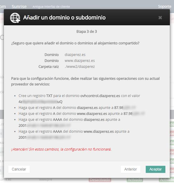 Detalle de configuración de dominio externo en multidominio OVH